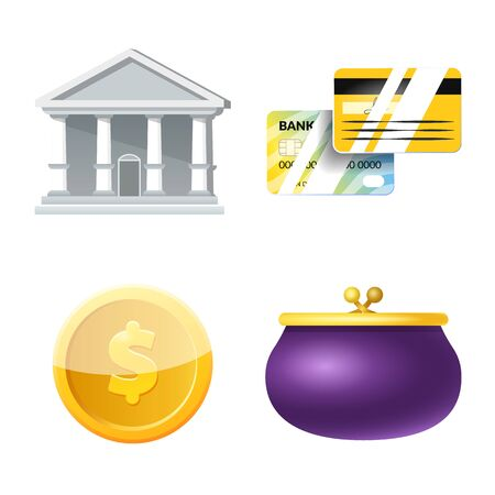 Vector illustration of bank and money symbol. Collection of bank and bill stock symbol for web. Ilustração