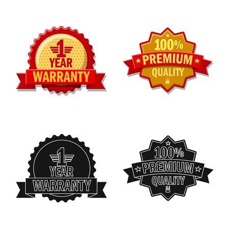 Vector illustration of emblem and badge symbol. Collection of emblem and sticker stock vector illustration. Ilustração