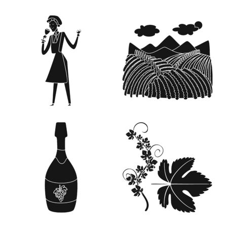 Vector illustration of nature and product symbol. Set of nature and winery vector icon for stock.