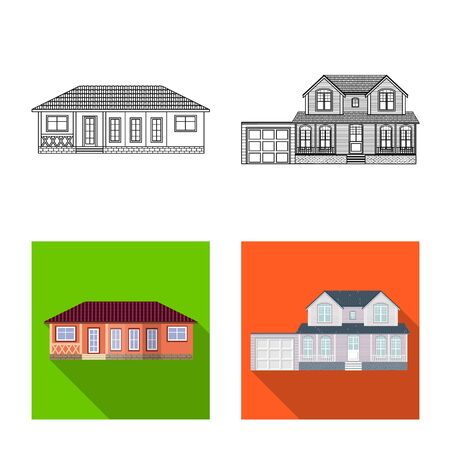 Vector design of building and front sign. Collection of building and roof stock symbol for web.