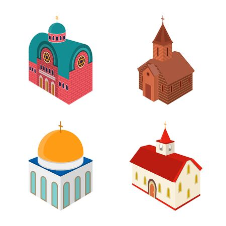 Isolated object of architecture and building symbol. Set of architecture and clergy stock symbol for web.