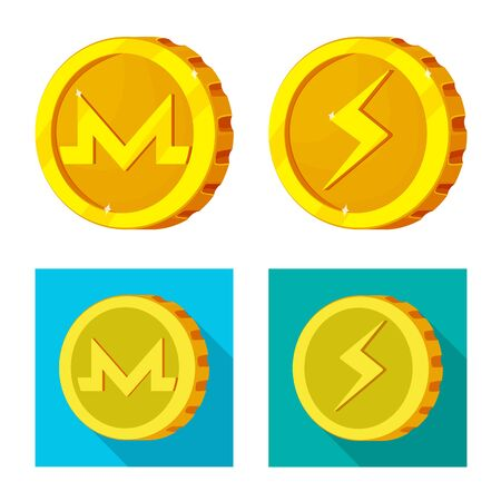 Isolated object of cryptocurrency and coin symbol. Set of cryptocurrency and crypto vector icon for stock.