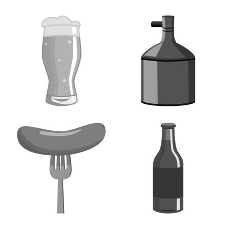 Isolated object of restaurant and oktoberfest icon. Set of restaurant and brewing stock symbol for web.