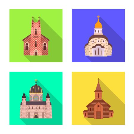 Vector design of cult and temple icon. Set of cult and parish stock symbol for web. Ilustração