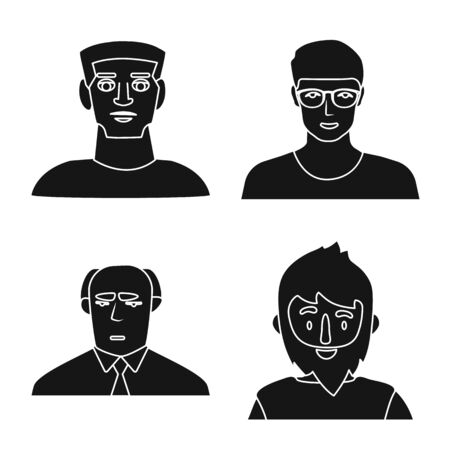 Vector design of avatar and profession symbol. Collection of avatar and people stock vector illustration. Ilustração