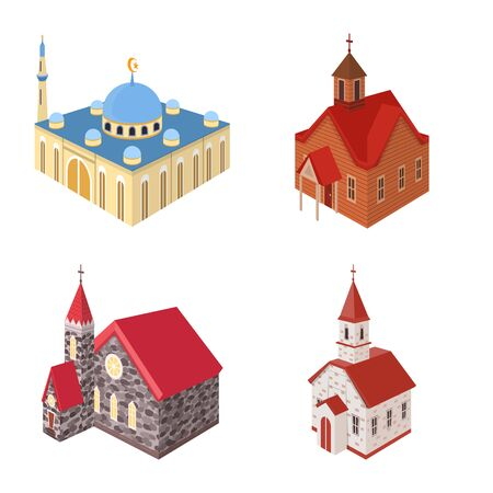 Vector design of architecture and building icon. Collection of architecture and clergy stock vector illustration. Ilustração