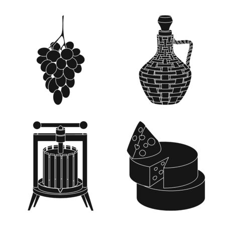 Vector illustration of nature and product symbol. Set of nature and winery stock symbol for web.