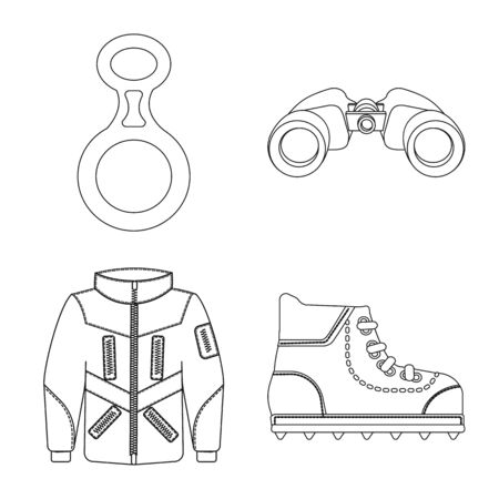 Isolated object of mountaineering and peak icon. Collection of mountaineering and camp stock symbol for web. Ilustração