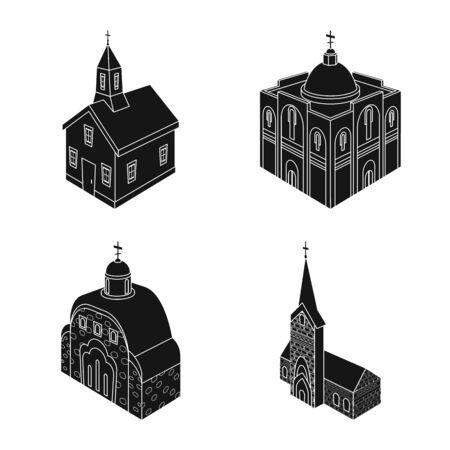 Vector design of parish and faith icon. Set of parish and building stock symbol for web.