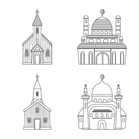 Isolated object of architecture and faith icon. Set of architecture and temple vector icon for stock.