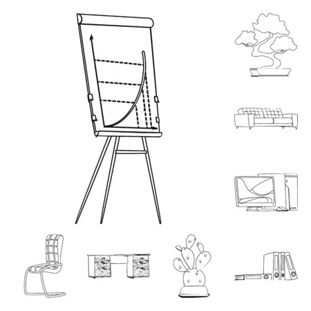 Isolated object of furniture and work symbol. Set of furniture and home vector icon for stock. Ilustração