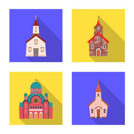 Vector illustration of cult and temple icon. Collection of cult and parish stock vector illustration. Imagens - 128648503