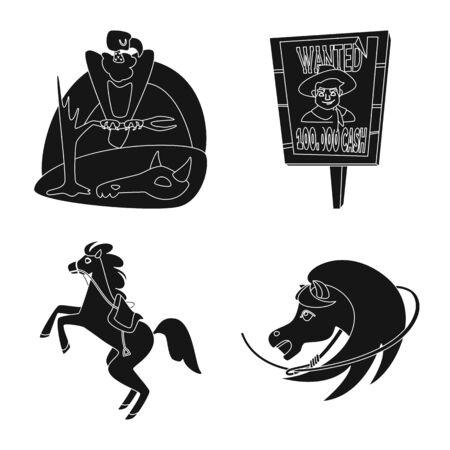 Objeto aislado de peligro y símbolo de la cultura. Colección de símbolo de peligro y del oeste para la web. Ilustración de vector