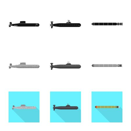 Vector design of war and ship symbol. Collection of war and fleet vector icon for stock.
