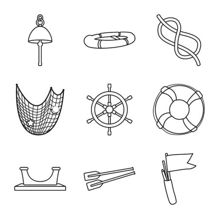 Vector design of ocean and travel symbol. Collection of ocean and voyage stock symbol for web.