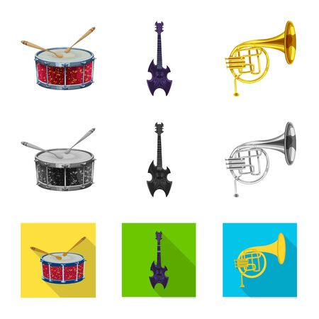 Isolated object of music and tune logo. Collection of music and tool stock symbol for web. Ilustração