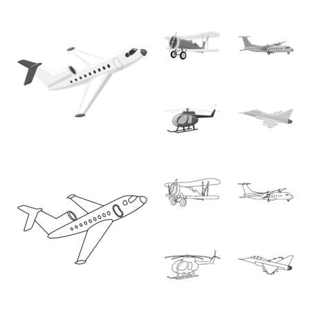 Vector illustration of plane and transport logo. Collection of plane and sky stock vector illustration. Banque d'images - 128648037