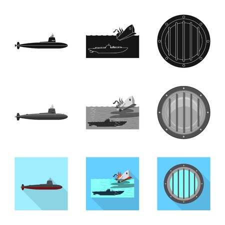 Vector illustration of war and ship sign. Collection of war and fleet vector icon for stock. Иллюстрация