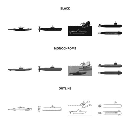 Vector illustration of war and ship symbol. Collection of war and fleet vector icon for stock. Иллюстрация