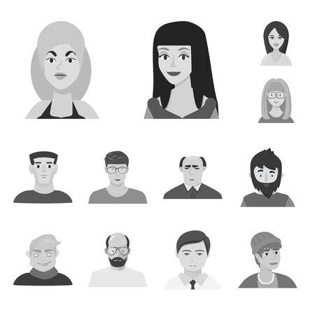 Objet isolé d'avatar et symbole créatif. Collection d'illustration vectorielle stock avatar et personne. Vecteurs