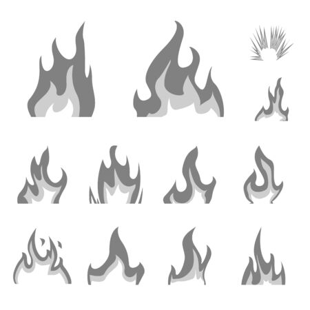 Vector design of flaming and danger sign. Set of flaming and dangerous stock symbol for web.