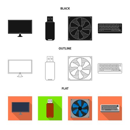 Isolated object of accessories and device icon. Set of accessories and electronics stock vector illustration. Ilustração