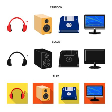 Vector design of laptop and device sign. Collection of laptop and server stock symbol for web. Ilustração
