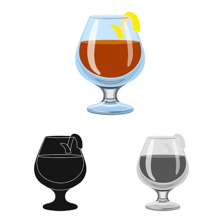 Isolated object of glass and cognac sign. Set of glass and ice vector icon for stock. 일러스트