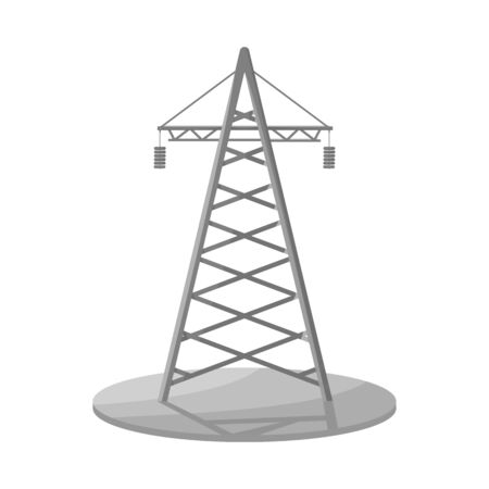 Isolated object of tower and transmission symbol. Set of tower and voltage vector icon for stock. Foto de archivo - 128647410