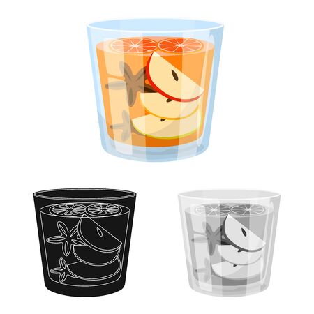 Vector design of glass and cinnamon sign. Collection of glass and grapefruit stock vector illustration. Ilustração