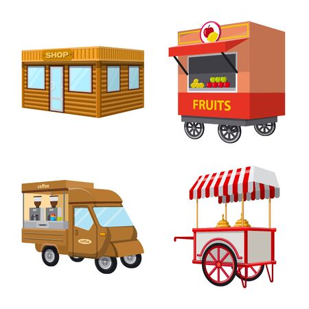 Vector design of booth and kiosk sign. Collection of booth and small stock vector illustration.