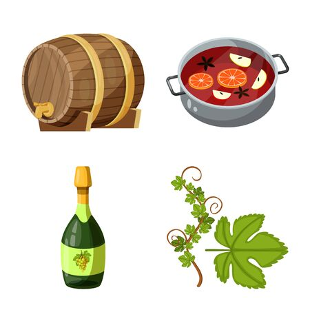 Vector design of grape and winery sign. Set of grape and manufacturing stock symbol for web.