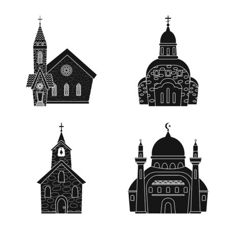 Vector illustration of house and parish sign. Set of house and building stock symbol for web. Imagens - 128647308