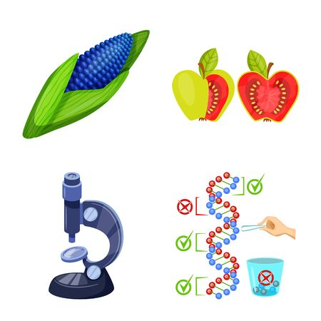 Isolated object of modified and genetically sign. Collection of modified and science stock vector illustration.