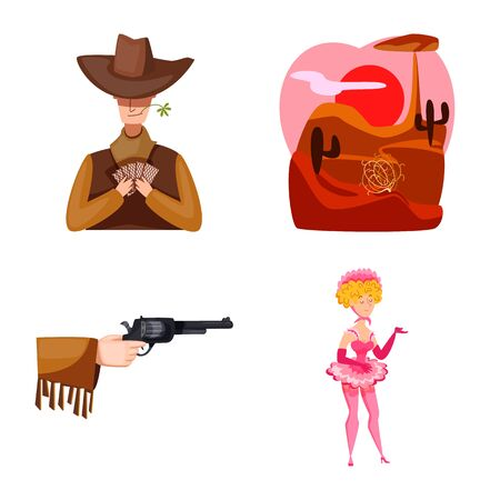 Vector design of wild and west symbol. Collection of wild and american vector icon for stock. Ilustração