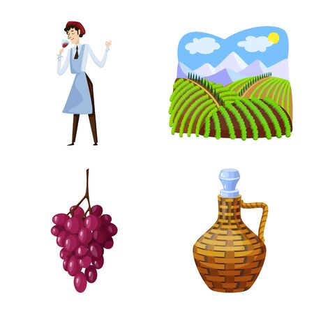 Vector illustration of grape and winery icon. Collection of grape and manufacturing vector icon for stock.