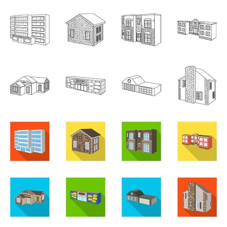 Vector illustration of facade and housing icon. Collection of facade and infrastructure stock symbol for web. Banque d'images - 128647103