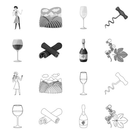 Vector design of farm and vineyard logo. Collection of farm and product stock symbol for web. Stock Illustratie