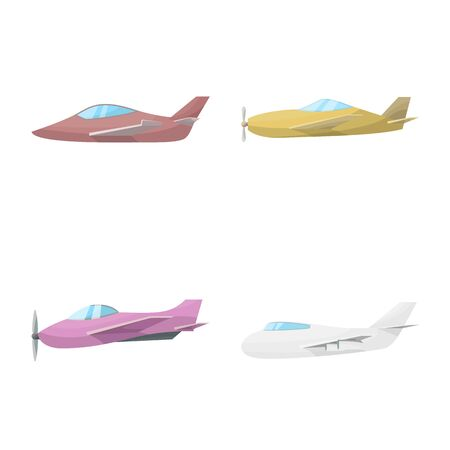 Isolated object of aircraft and commercial icon. Collection of aircraft and aviation stock vector illustration. Ilustração