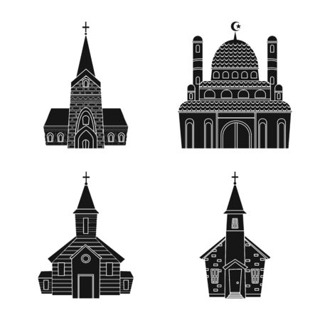 Vector design of house and parish icon. Collection of house and building stock vector illustration. Imagens - 128647051