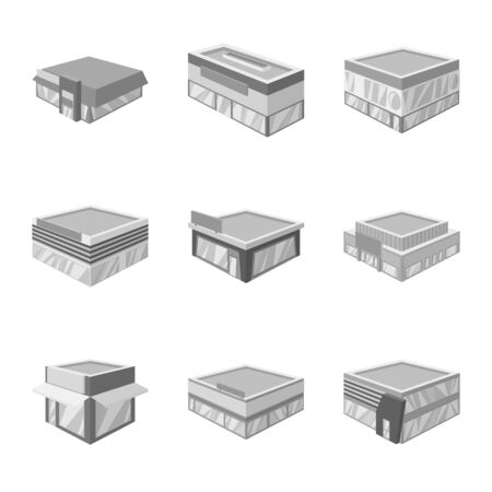 Isolated object of construction and showcase icon. Collection of construction and architecture stock vector illustration.