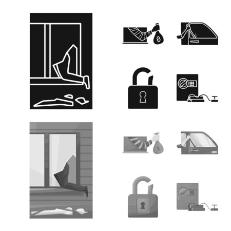 Vector illustration of crime and steal symbol. Collection of crime and villain vector icon for stock.