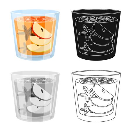 Vector design of glass and cinnamon. Collection of glass and grapefruit stock symbol for web.