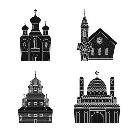 Vector design of house and parish symbol. Set of house and building stock vector illustration.