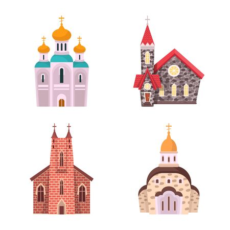 Vector design of religion and building icon. Collection of religion and faith stock symbol for web.