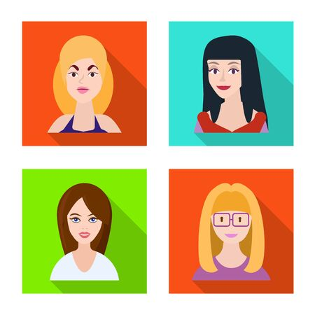 Vector design of avatar and person logo. Set of avatar and profession vector icon for stock.  イラスト・ベクター素材