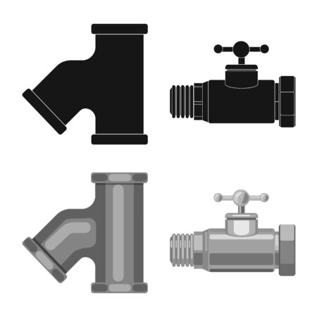 Isolated object of pipe and tube sign. Set of pipe and pipeline vector icon for stock.