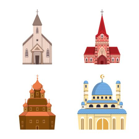 Isolated object of religion and building icon. Set of religion and faith stock vector illustration. Imagens - 128567938