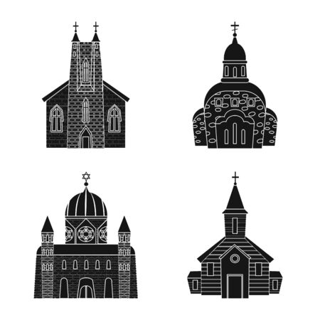 Vector illustration of house and parish logo. Set of house and building vector icon for stock.
