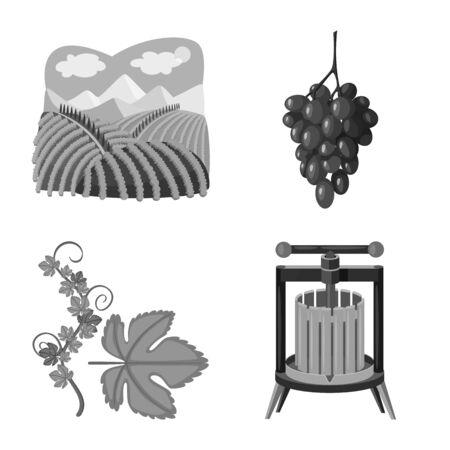 Vector illustration of stamp and restaurant symbol. Set of stamp and vineyard stock symbol for web.